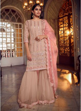 Glamorous Peach Color Organza Base With Heavy Work Sharara Suit