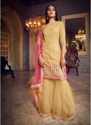 Beautiful Beige Color Organza Base With Heavy Work Designer Sharara Suit
