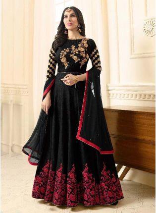 Adorable Black Color Silk Fabric With Resham Work Designer Gown