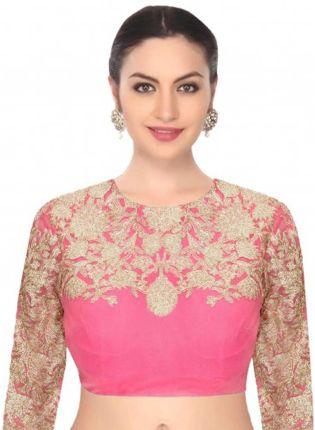 Splendid Back Less Pink Dori Work Blouse