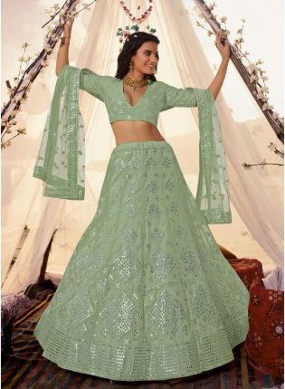 Sage Green Foil Mirror Resham Lehenga Choli Set
