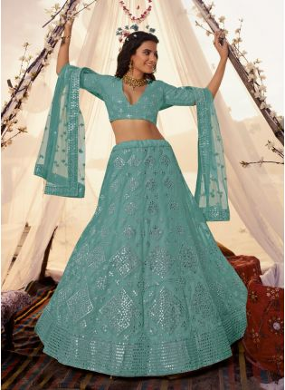 Sky Blue Foil Mirror Resham Lehenga Choli Set