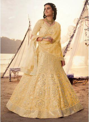 Magical Yellow Foil Mirror Work Lehenga Choli Set