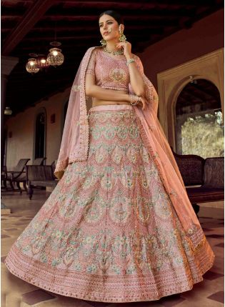 Elegant Look Peach Color Georgette Base Heavy Work Bridal Lehenga Choli
