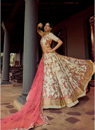 Exquisite Off-White Color Georgette Base Heavy Work Bridal Wear Flared Lehenga Choli