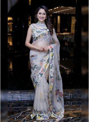 Best White Digital Print Organza Ceremonial Bollywood Saree