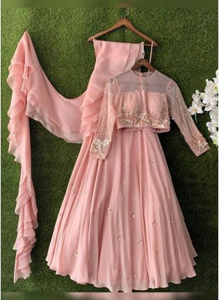 Top Baby Pink Bollywood Flared Lehenga Choli For Reception