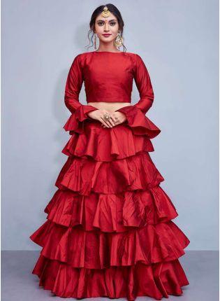 Top Red Taffeta Silk Base Ruffle Lehenga Skirt With Crop Top