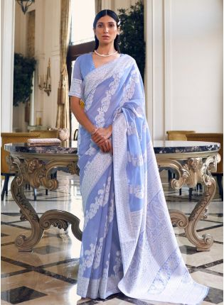 Eye-Catching Lilac Color Linen Base Lucknowi Look Designer Saree