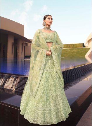Modish Green Color Soft Net Base With Sequins Work Lehenga Choli