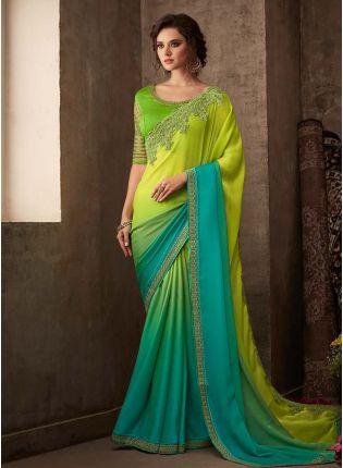 Glam Look Shaded Green Color Silk Base Heavy Work Designer Saree