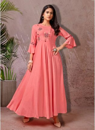 Engrossing Cotton Fabric Peach Color 3/4th Sleeves Long Kurti