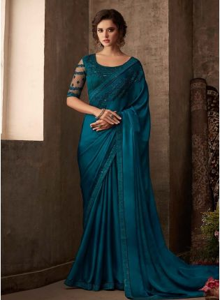 Turquoise Color Silk Base Embroidery Work Partywear Look Designer Saree