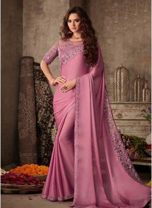 Beautiful Lilac Color Silk Base Wedding Wear Saree With Designer Look Blouse