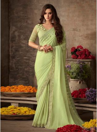 Lime Green Color Silk Base Heavy Work Designer Look Saree With Same Color Blouse