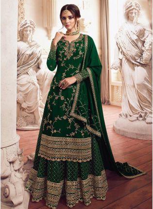 Admirable Green Zari Georgette Pakistani Palazzo Salwar Suit