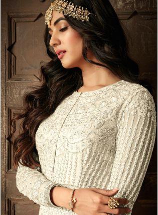 Top While Resham Stonework Floor Length Anarkali Salwar Suit