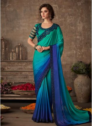 Dazzling Look Turquoise Color Double Shaded Saree With Designer Blouse