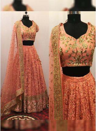 Buy Elegent Orange Color Lakhnavi Work Flared Lehenga Choli