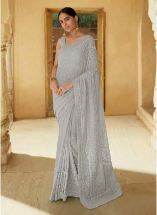 Mesmerizing Grey Color Georgette Base With Heavy Work Partywear Saree