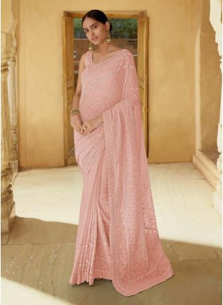 Enchantment Peach Georgette Base Sequins And Mirror Work Saree