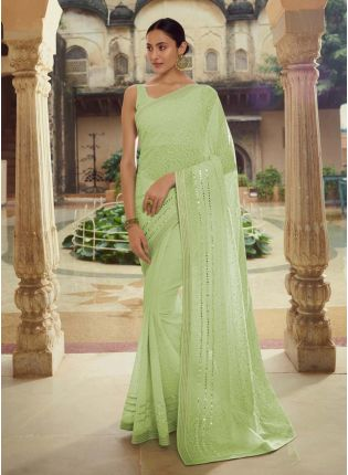 Delightful Green Color Georgette Base Heavy Work Designer Saree
