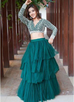 Splendid Teal Green Color Soft Net Base Ruffle Lehenga Choli