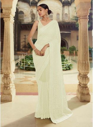 Alluring Off-White Color Soft Net Base Party Wear Designer Saree