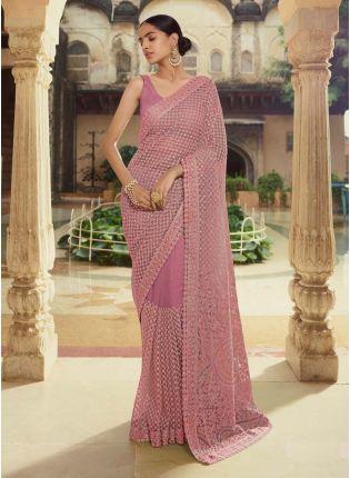 Exquisite Lilac Color Soft Net Base Heavy Work Designer Saree