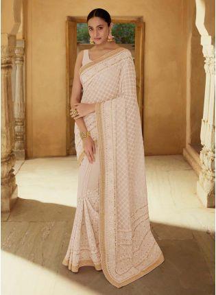 Buy Splendid Beige Color Georgette Base Wedding Wear Designer Saree