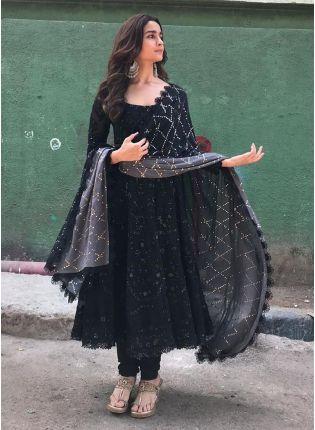 Trendy Black Color Georgette Base Designer Anarkali Dress