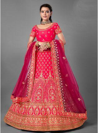 Pink Color Satin Silk Base With Heavy Work Weeding Wear Lehenga Choli