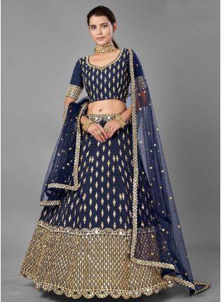 Eye-Catching Navy Blue Color Art Silk Base With Heavy Work Bridal Wear Lehenga Choli