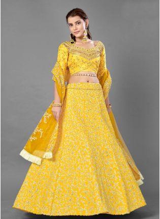 Sunshine Yellow Color Art Silk Base Designer Look Flared Lehenga Choli