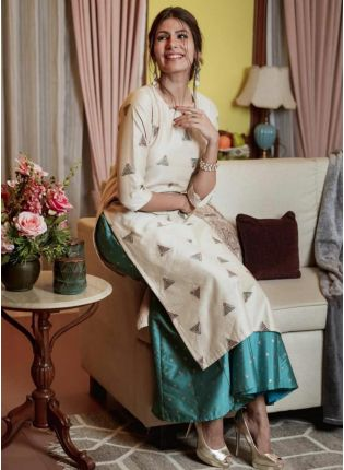 Iconic Splendid Beige Colored Palazzo Salwar Suit With Amazing Foil Print