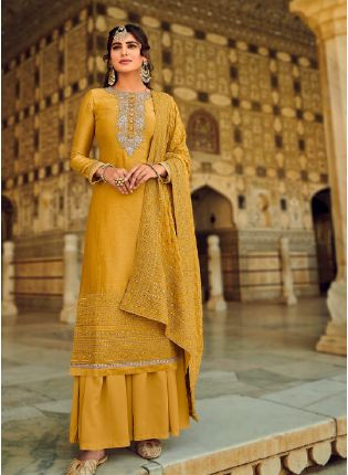 Excellent Yellow Color With Beautiful Embroidery work salwar kameez