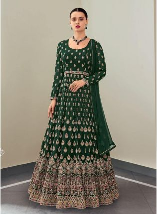 Green Color Georgette Fabric Stone And Resham Work Designer Gown