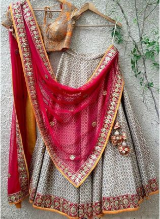 Terrific Grey Color With Heavy Embroidery Lehenga Suit