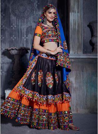 Orange Color Cotton Fabric Mirror And Resham Work Navratri Special Lehenga Choli