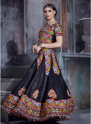 Mirror And Resham work Black Color Cotton Fabric Navratri Special Lehenga Choli