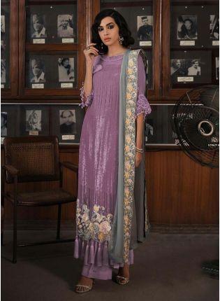 Purple Color Soft Net Base Sequins Work  Pakistani Palazzo Salwar Suit