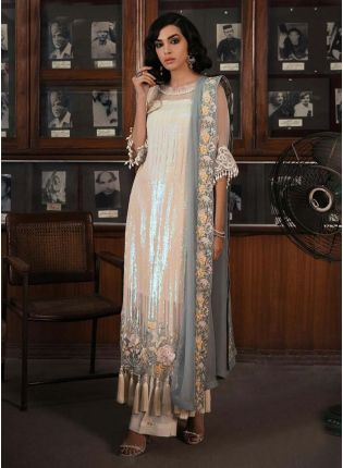 Cream Color Sequins Work Soft Net Base Straight Suit With Palazzo