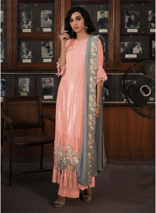 Peach Color Sequins Work Soft Net Base Straight Pakistani Salwar Suit