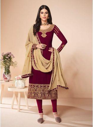 Maroon Color Georgette Base Zari Work Pant Style Salwar Suit