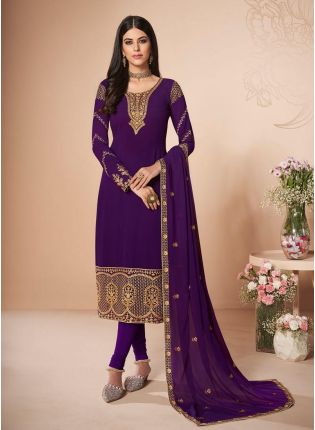 Purple Color Stone And Zari Work Georgette Fabric Pant Style Suit