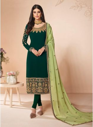 Astonishing Forest Green Color Zari work Pant Style Salwar Suit