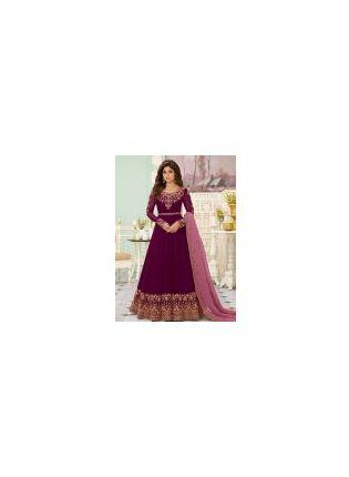 Exceptional Wine Color Georgette Base Designer Gown