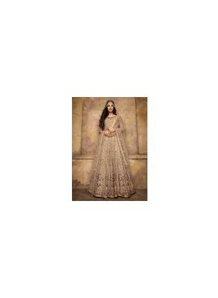 Stunning Cream Color Soft Net Base Designer Gown