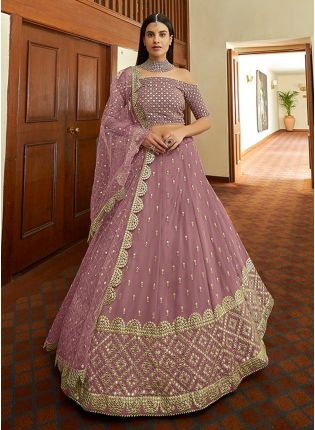 Party Wear Look Mauve Purple Color Georgette Base Heavy Work Lehenga Choli