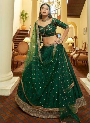 Enchanting Bottle Green Color Art Silk Base Wedding Wear Lehenga Choli